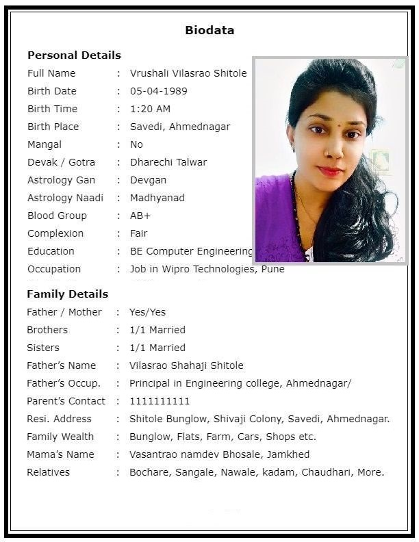 Marriage Biodata Making Services In All Languages For Wedding Purpose